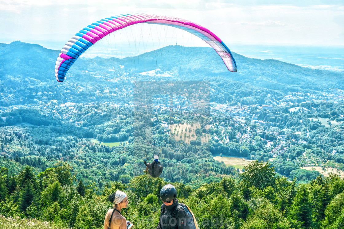 """Paragliding from Merkur Mountain"" stock image"