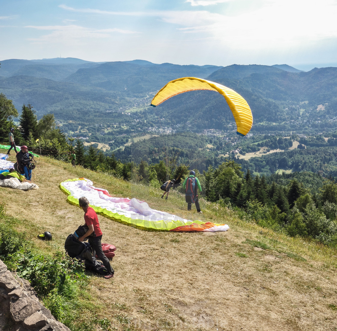 """Paragliding on Merkur Mountain"" stock image"