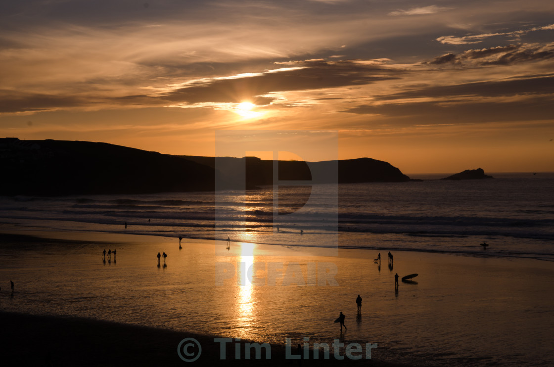 """Sunset over Surfer Bay"" stock image"