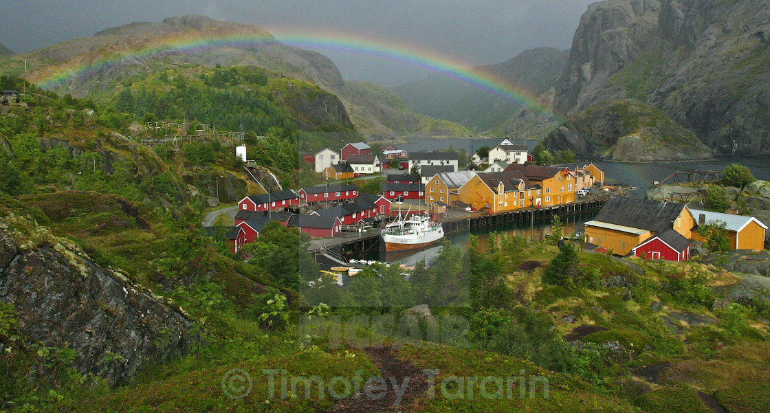 """Rainbow over Nusfjord"" stock image"
