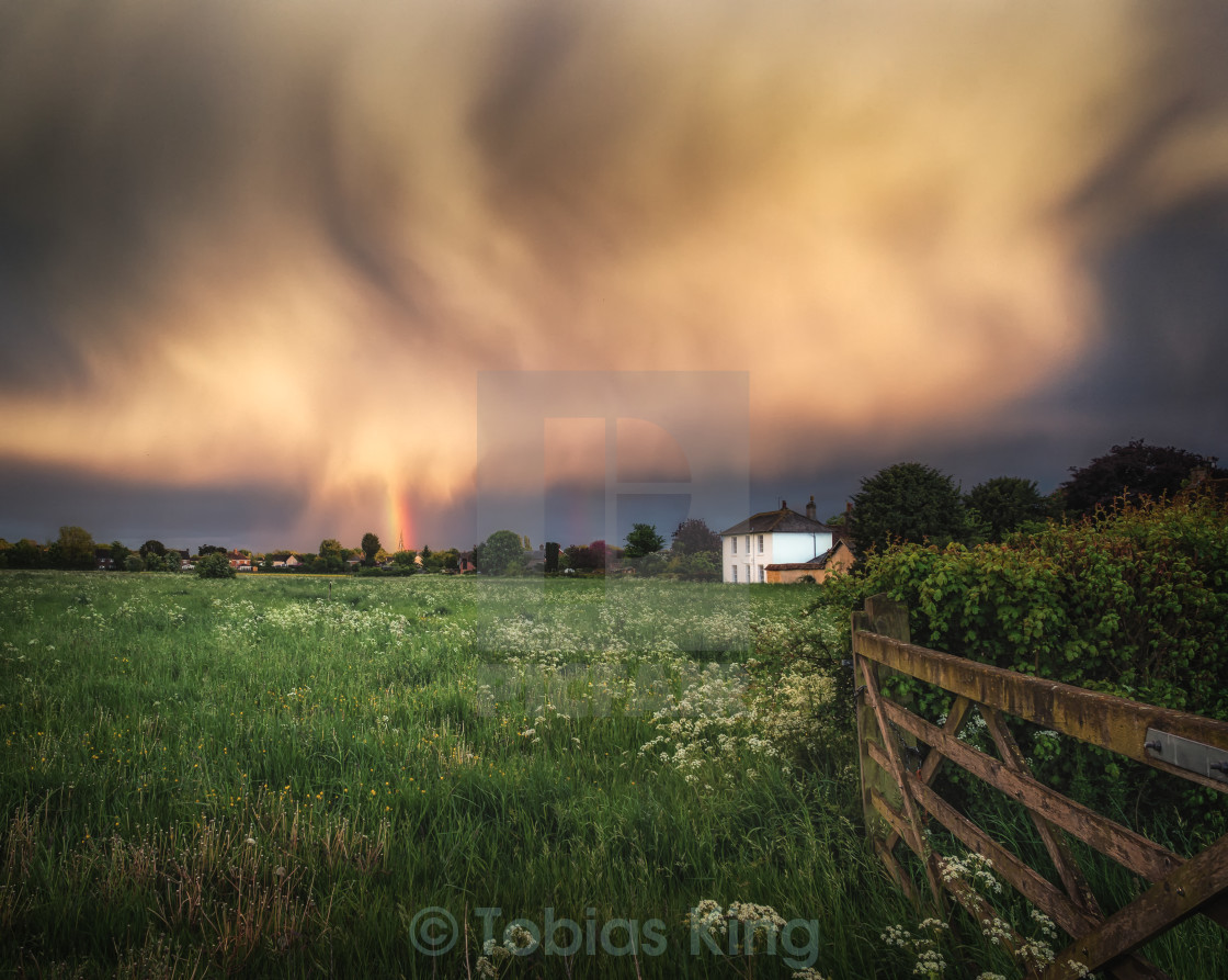 """Rainbow On A Stormy Evening"" stock image"