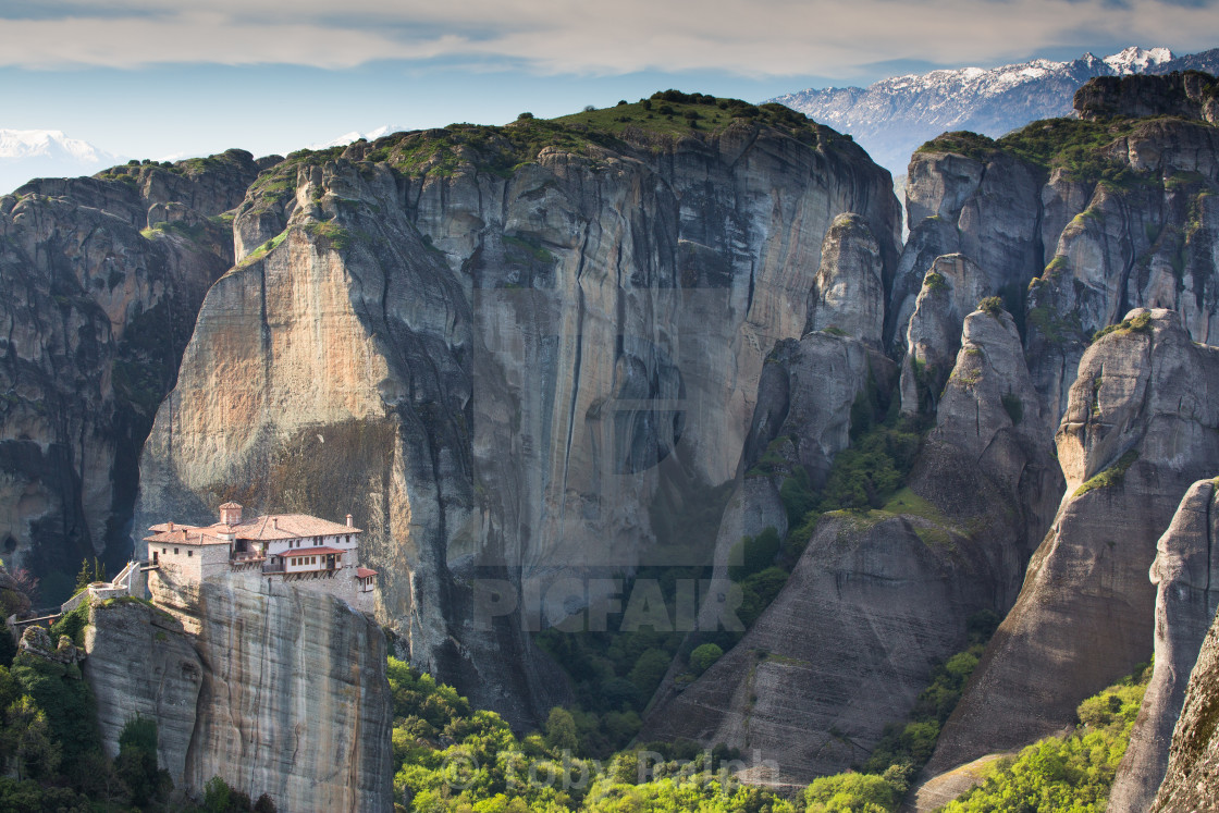 """A convent in Meteora in the morning."" stock image"