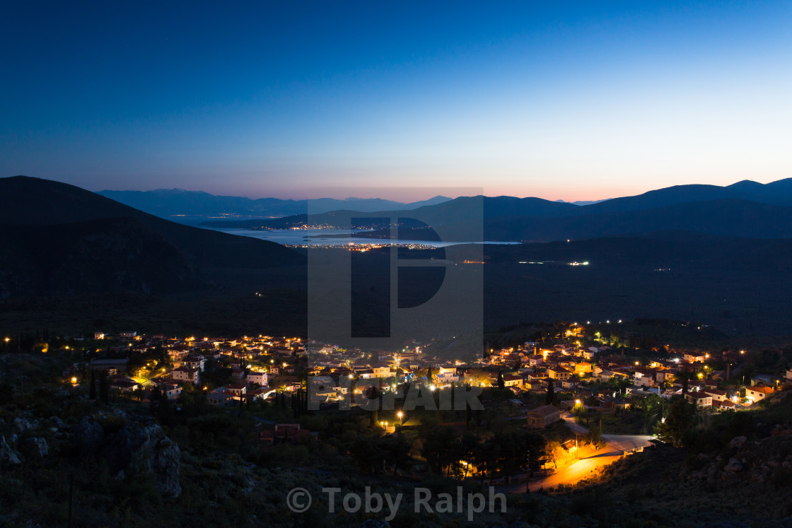 """Night fall near Delphi"" stock image"