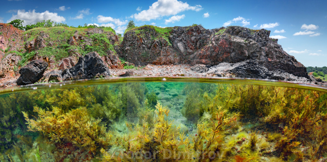 """Split Level Reef And Mountain"" stock image"