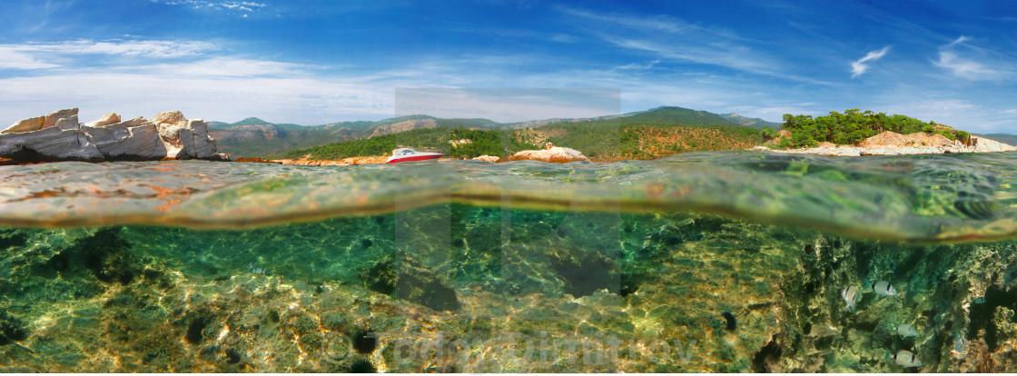 """Split Level Reef And Green Island"" stock image"