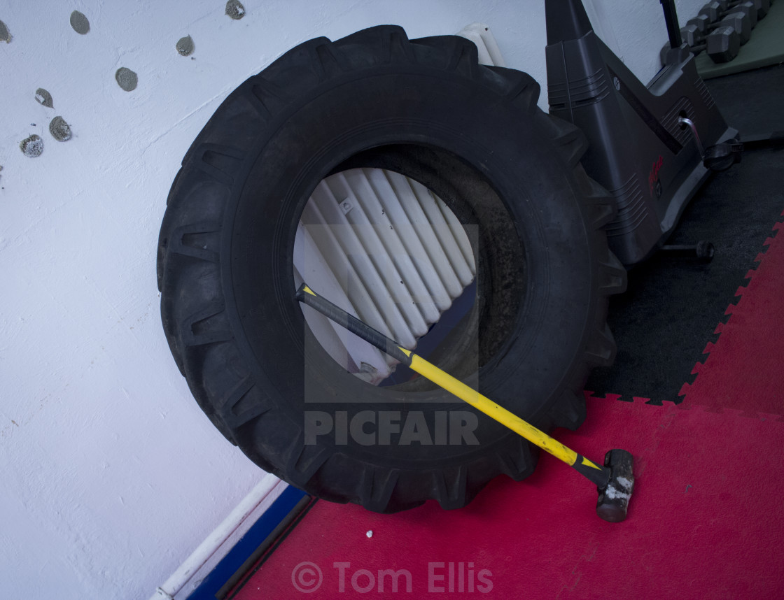 """""""Gym - Hammer & Tire"""" stock image"""