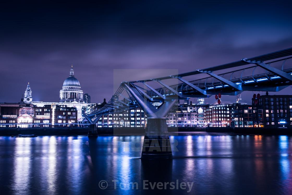 """""""Millennium Bridge in London at night"""" stock image"""