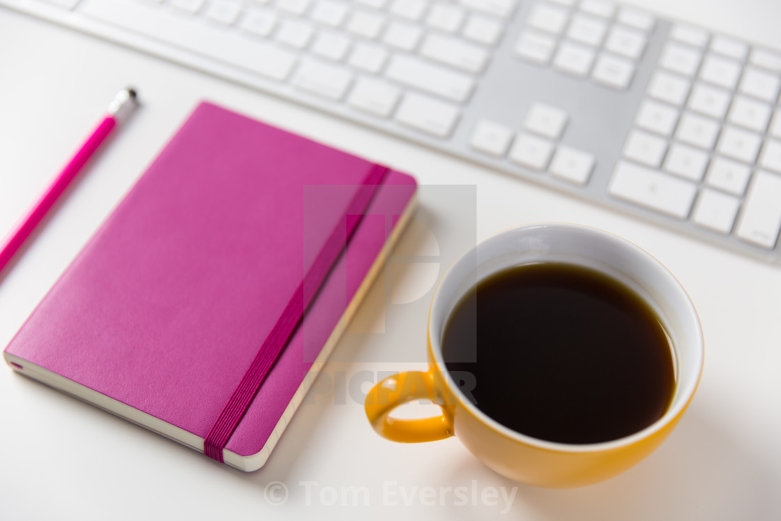 """Coffee, Computer and Notebook on Office Desk"" stock image"
