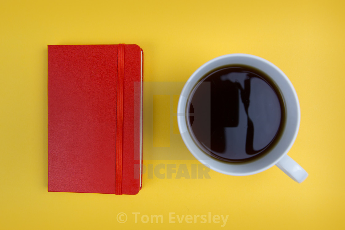 """Coffee and notebook"" stock image"