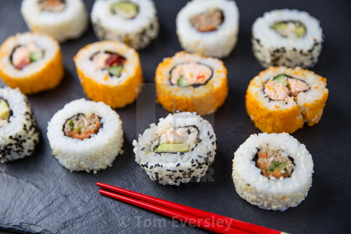 """Sushi rolls and chopsticks"" stock image"