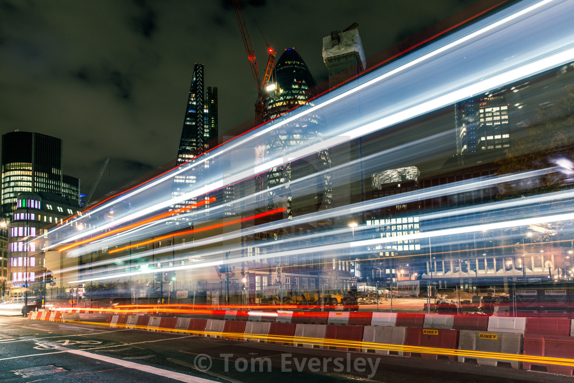 """Light trails in City of London"" stock image"