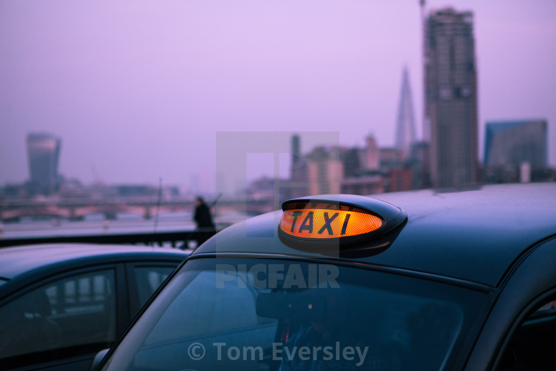 """London taxi car light"" stock image"