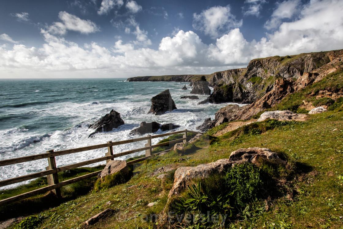 """Rocky coastline in Cornwall"" stock image"