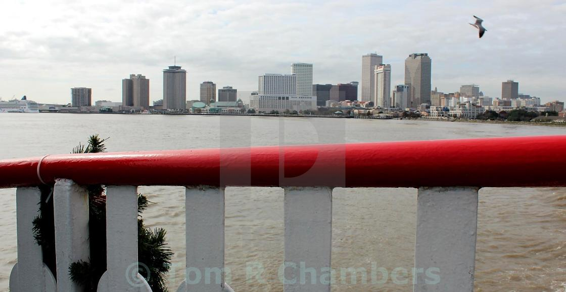 """New Orleans Skyline from Steamboat Natchez"" stock image"
