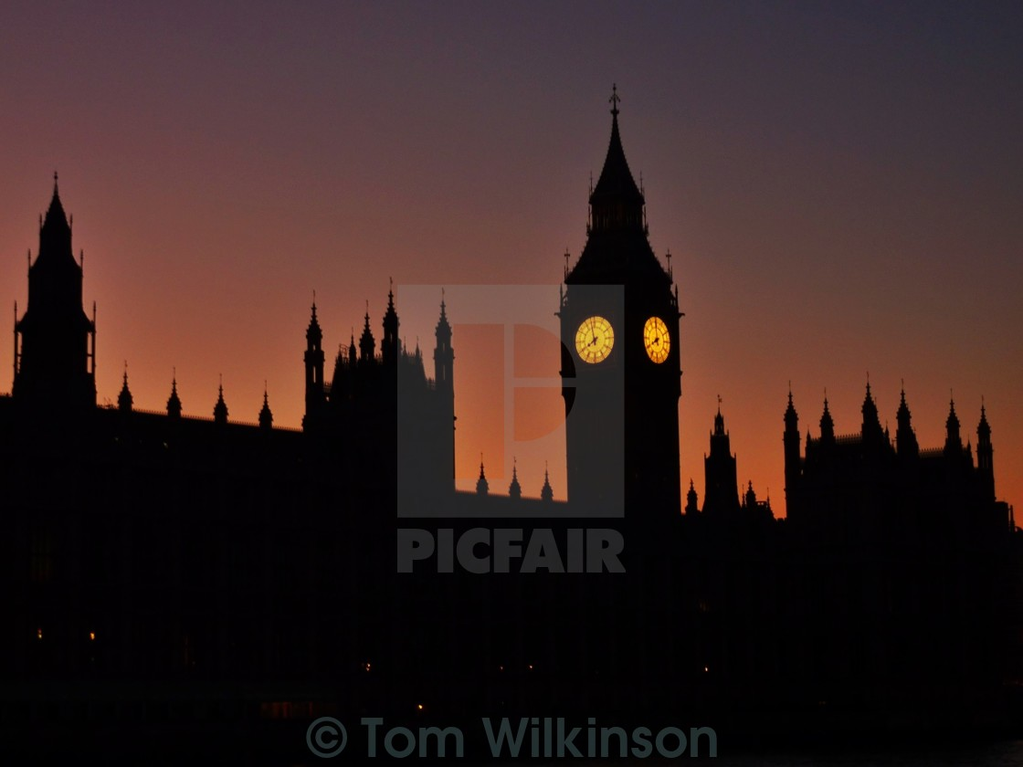 """""""Houses of Parliament at dusk, Westminster, London"""" stock image"""
