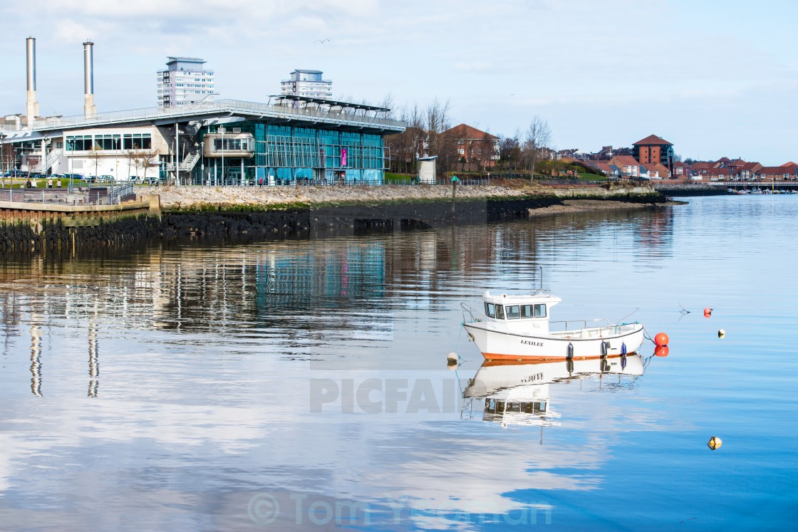 """Fishing boat moored on the river Wear."" stock image"