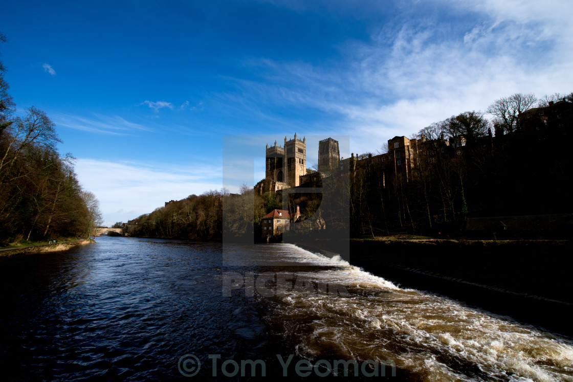 """Durham Cathedral from the river."" stock image"