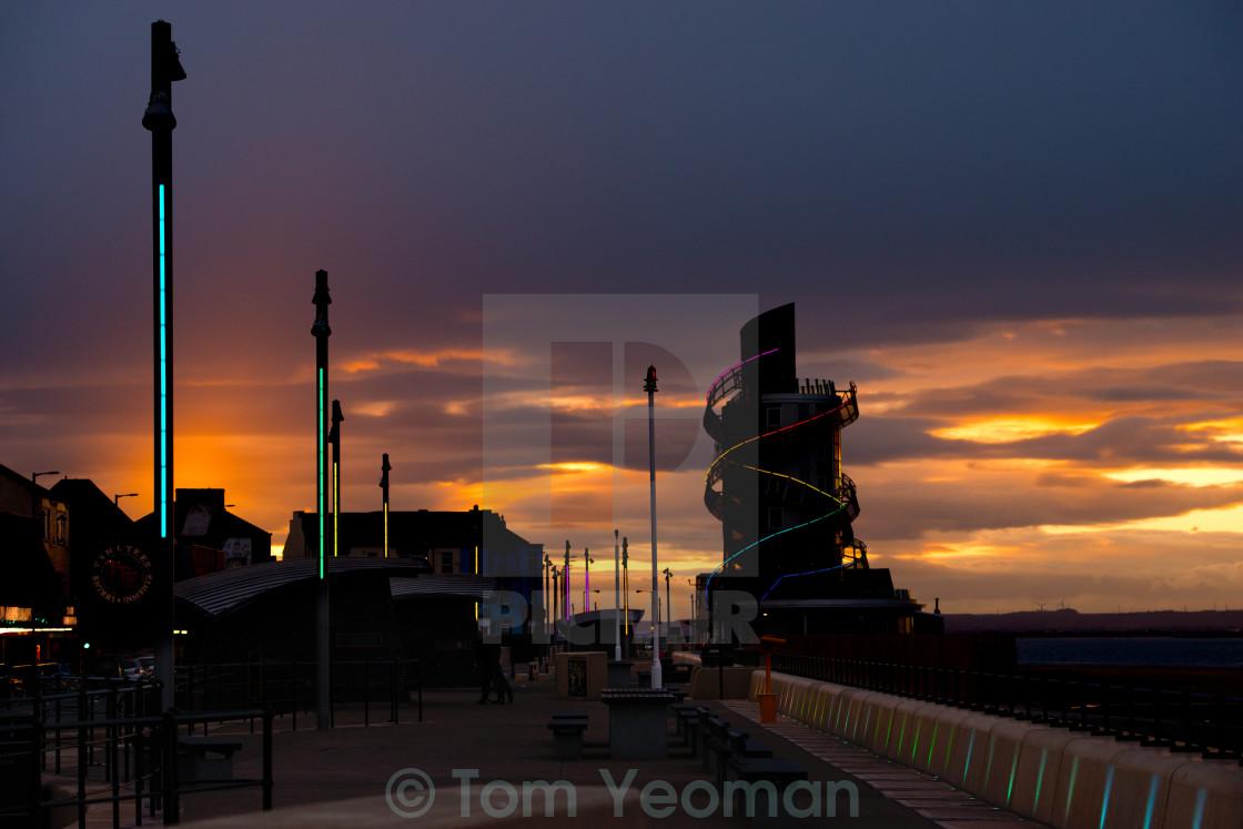 """Vertical Pier Sunset"" stock image"
