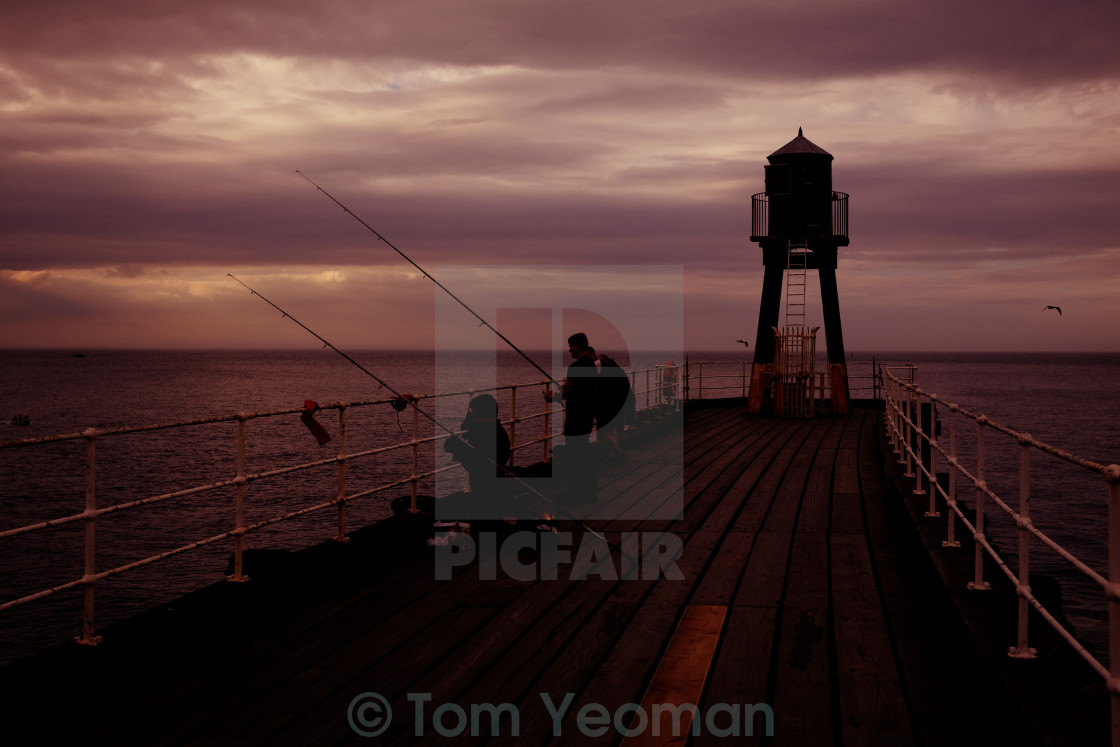 """Night Fishing from the Pier"" stock image"