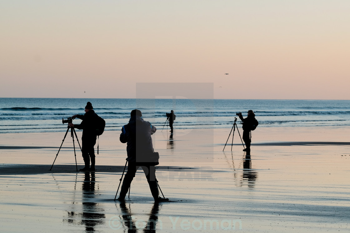 """Photographers on the beach"" stock image"