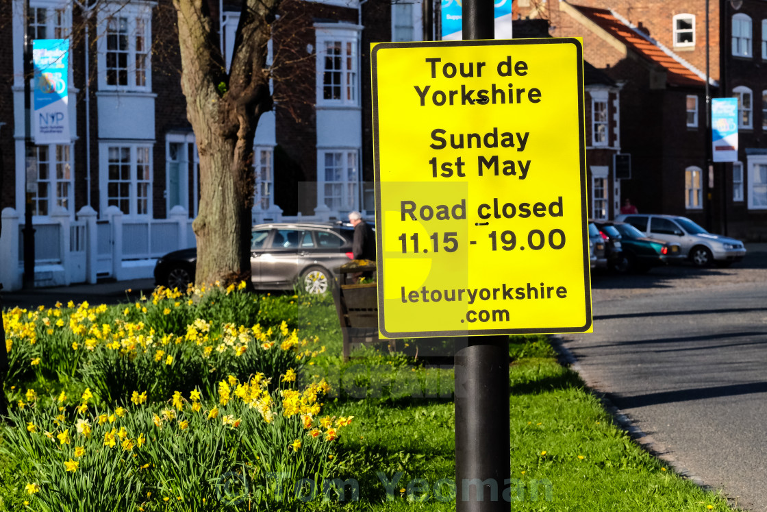 """Tour de Yorkshire 2016 signage in the North Yorkshire town of Stokesley 3"" stock image"