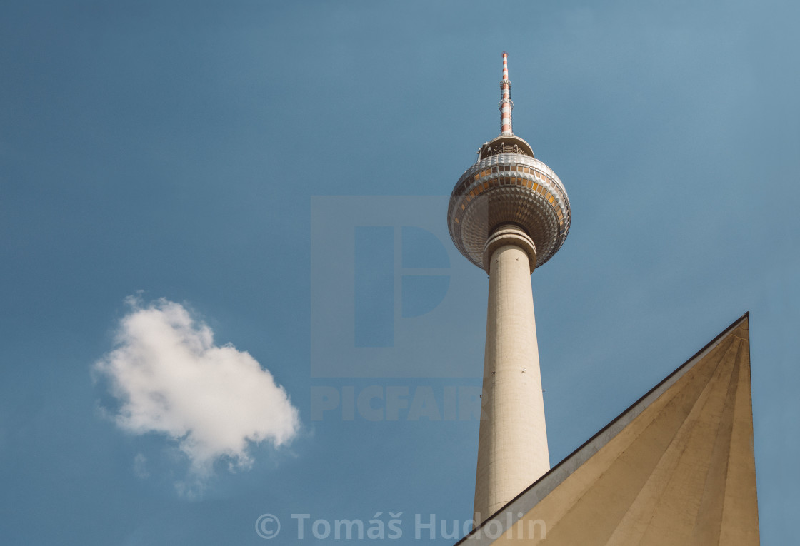 """""""Fernsehturm - the famous building of east Berlin in Germany against the blue sky"""" stock image"""