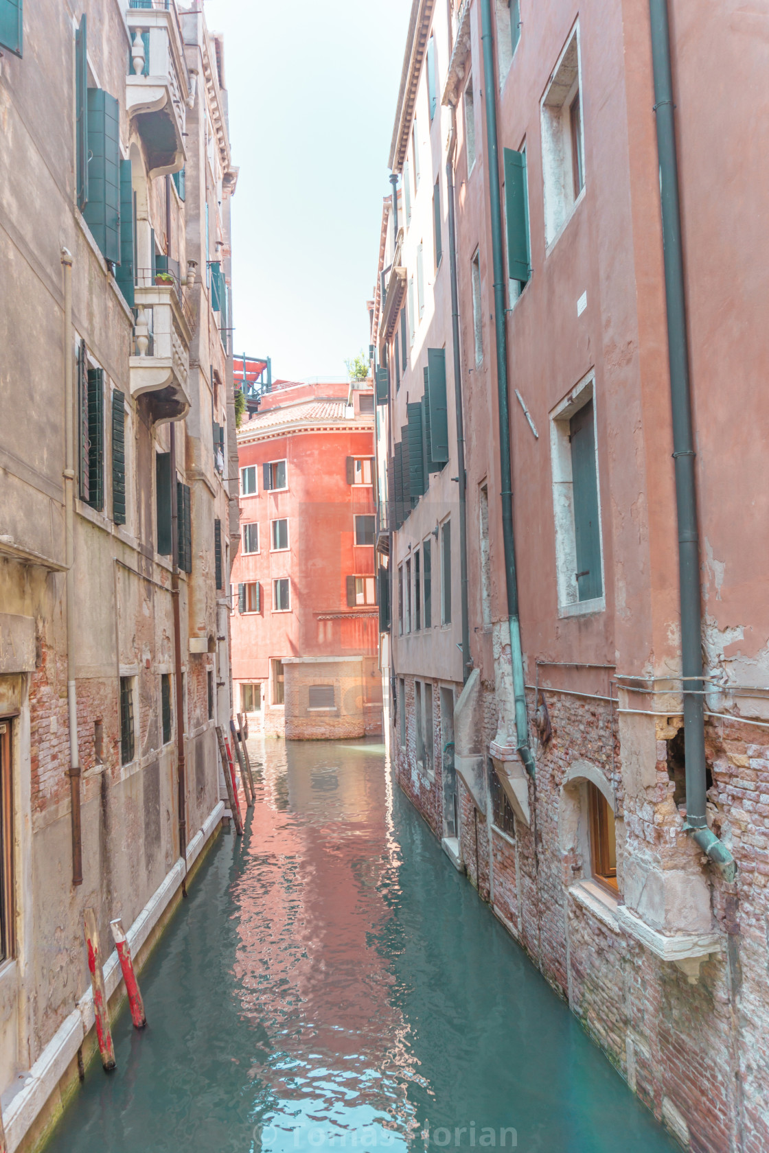 """""""View through the small water canal in Venice town"""" stock image"""
