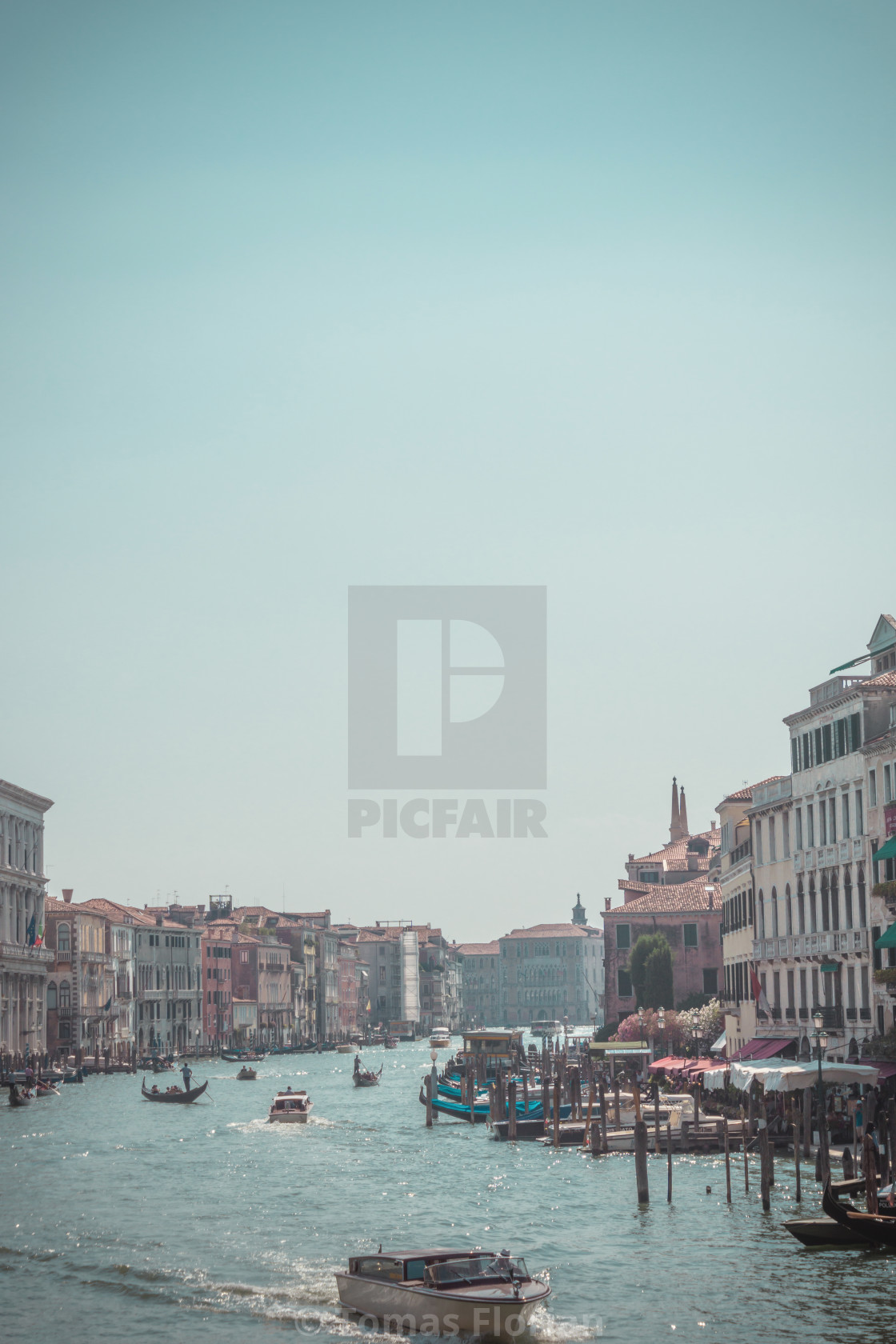 """View on Grand canal with several boats in the Venice town"" stock image"