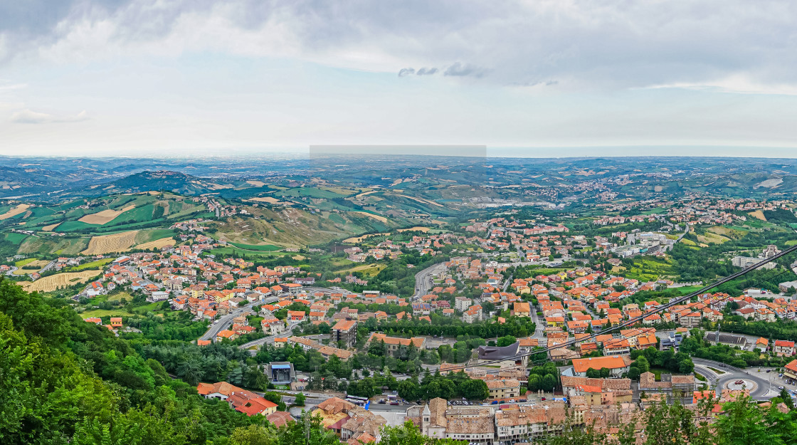 """View on the country side of San Marino from capital city"" stock image"