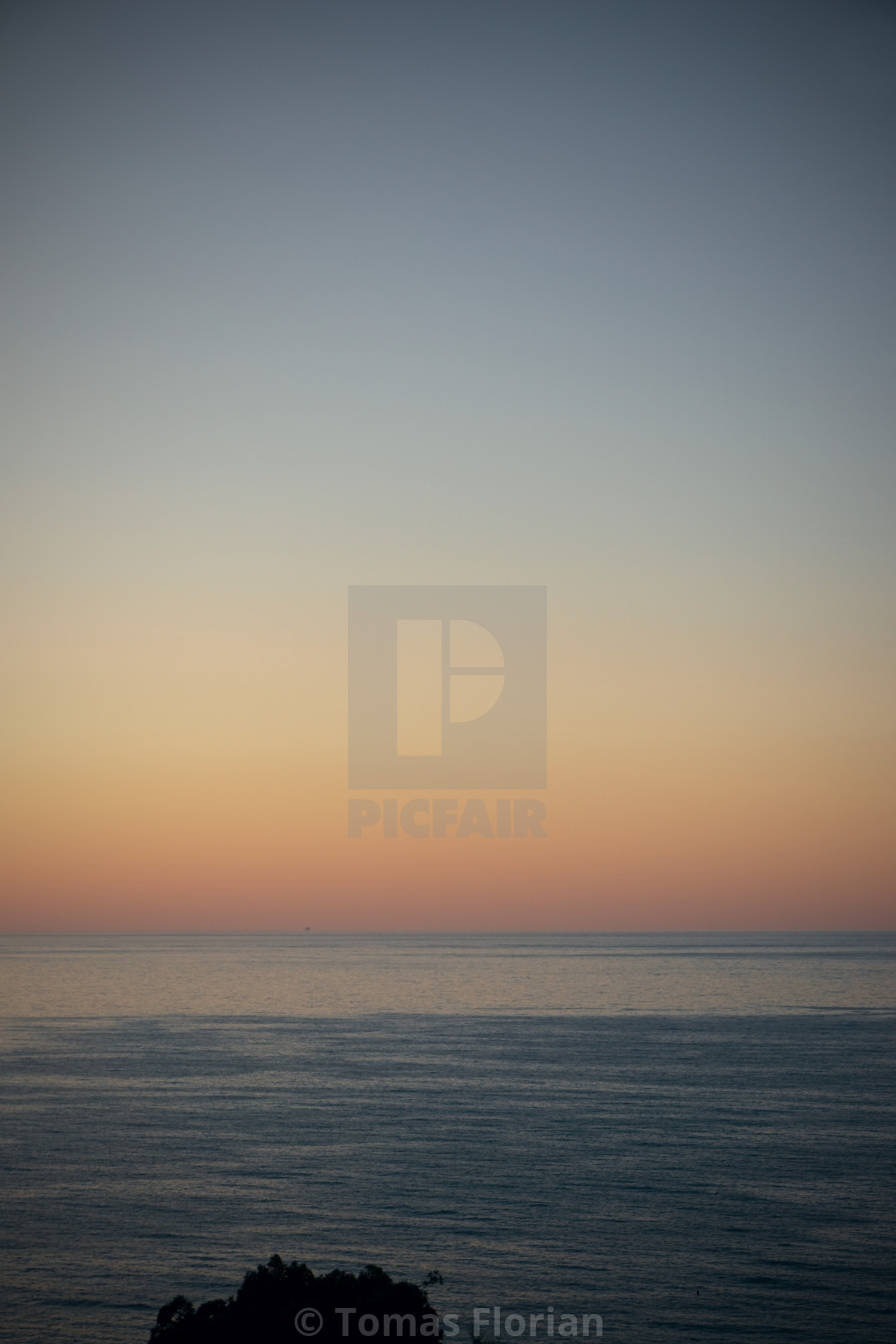 """Sunset over Adriatic sea with mining platform in the distance"" stock image"