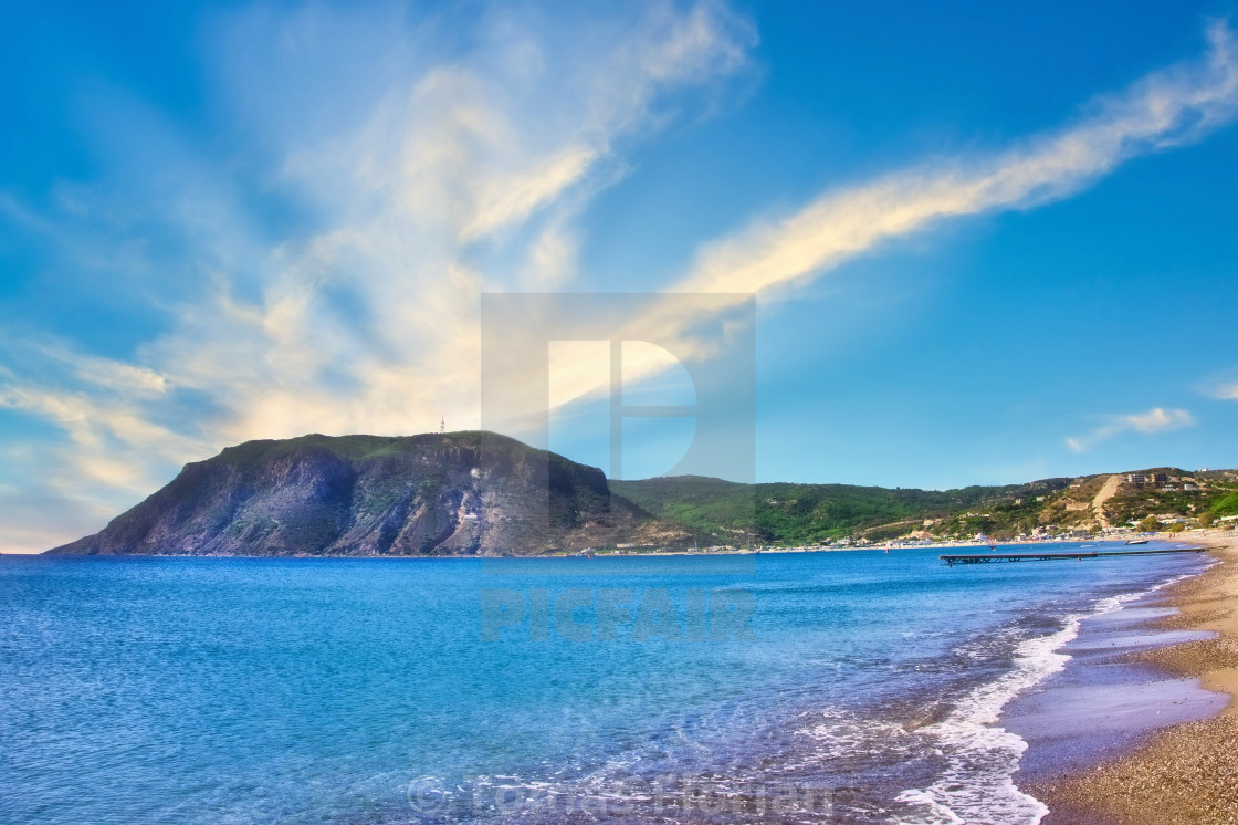 """""""View on the rock from the Agios Stefanos Bay beach on Kos island"""" stock image"""