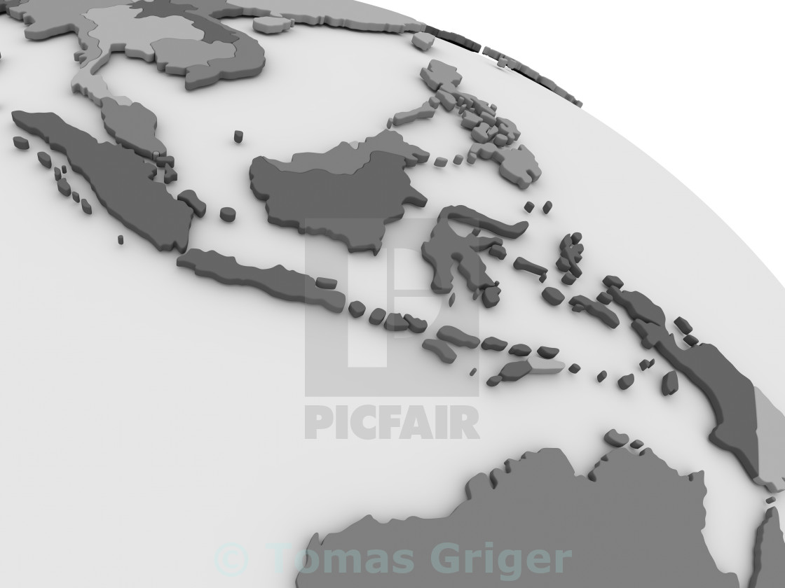 Indonesia on grey 3D map - License, download or print for ... on vector map indonesia, tv indonesia, travel map indonesia, satellite indonesia, map with physical features of indonesia,