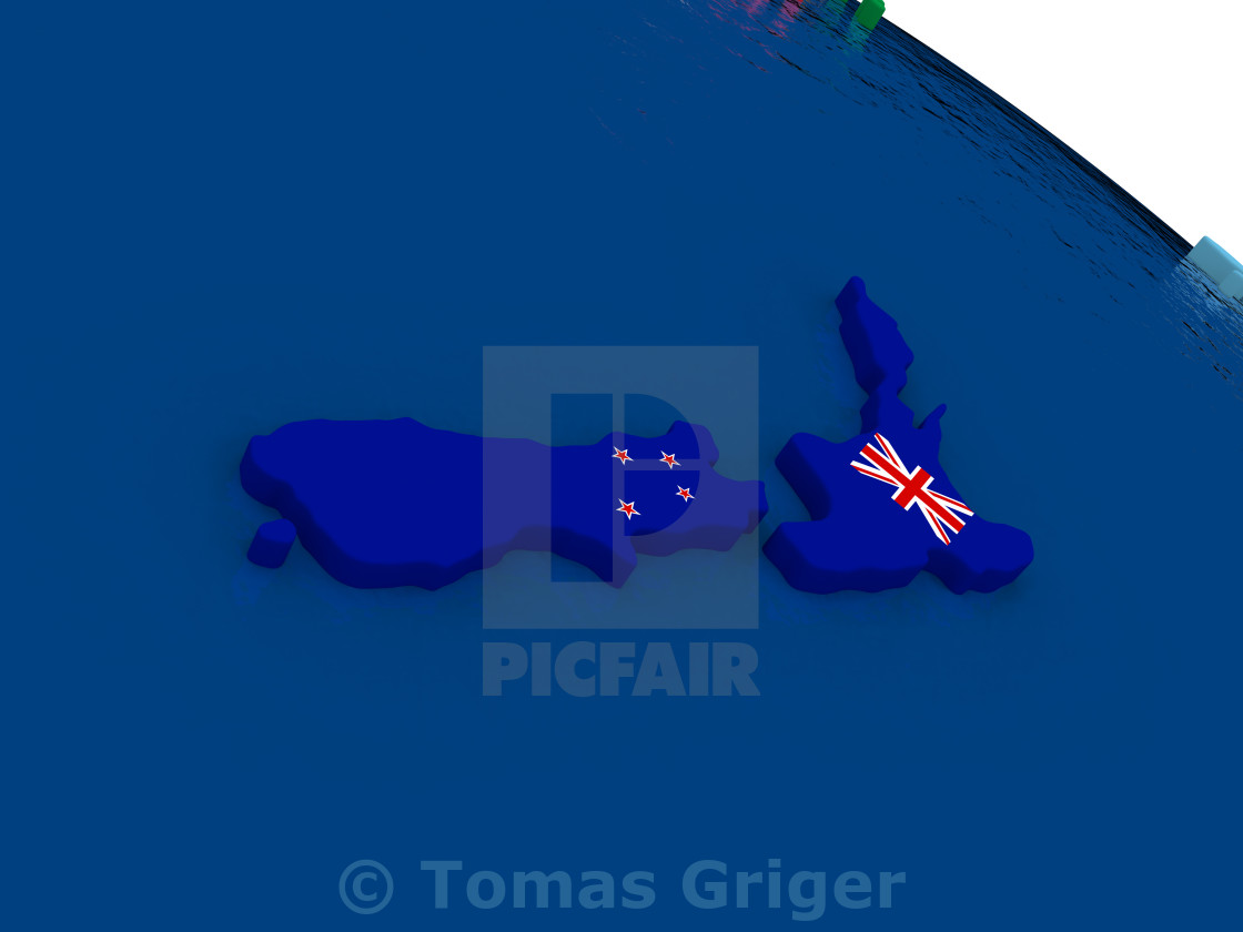 3d Map Of New Zealand.New Zealand On 3d Map With Flags License Download Or Print For