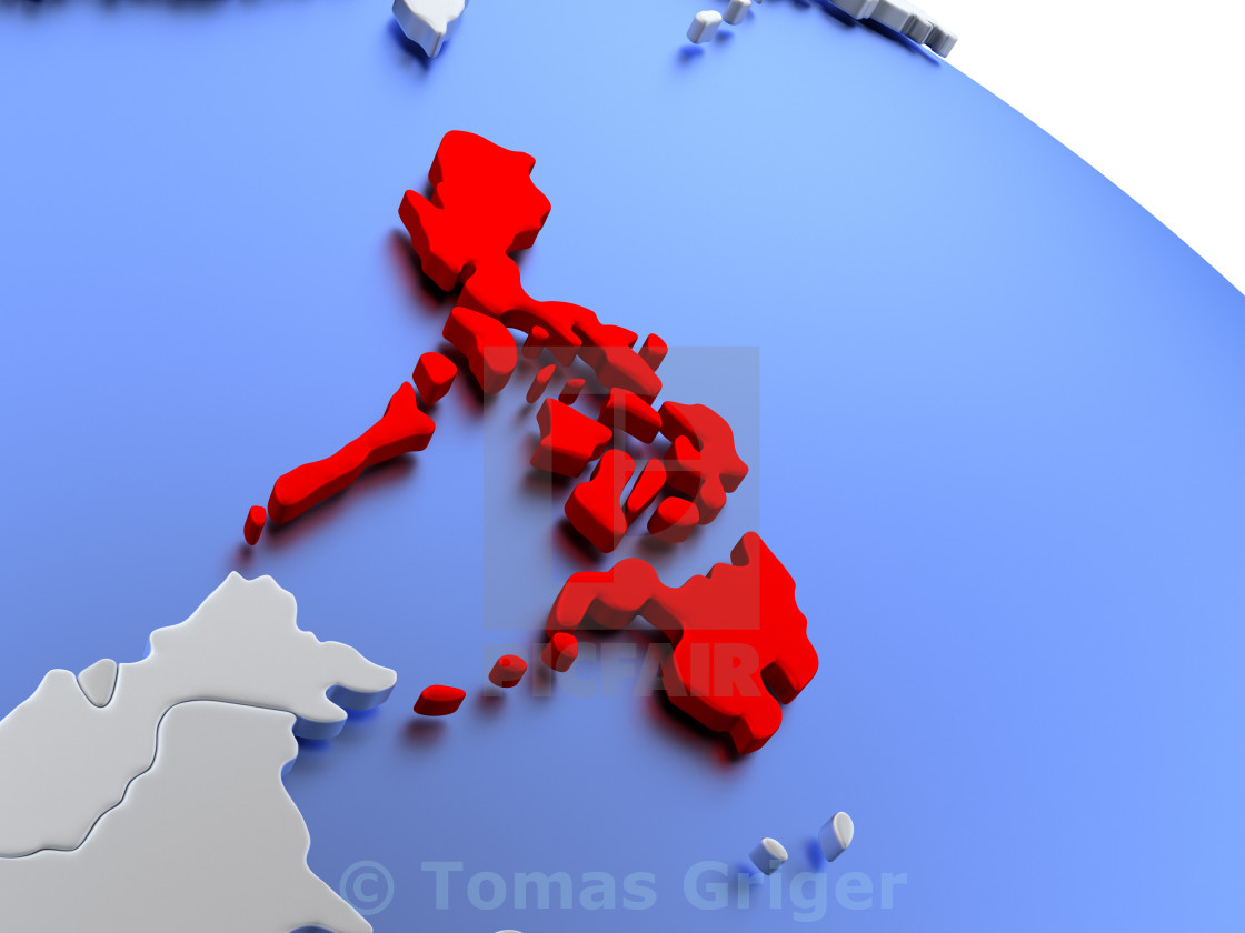 Philippines on world map - License, download or print for £1.24 ...