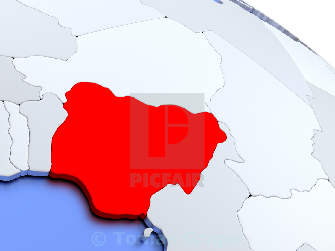 Nigeria On World Map License Download Or Print For 1 24 Photos