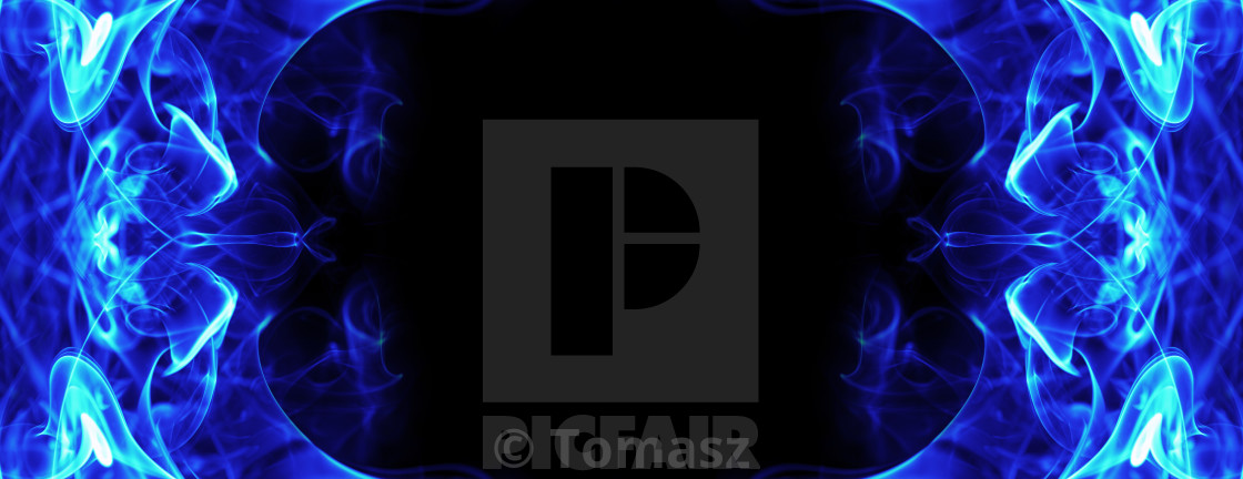 Abstract Fire Ice Energy Frame On Black Background License