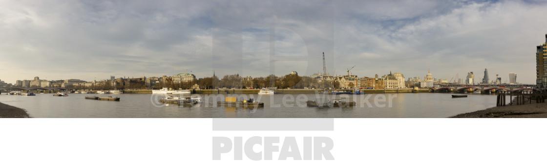 London Panorama View From City To Waterloo Bridge License