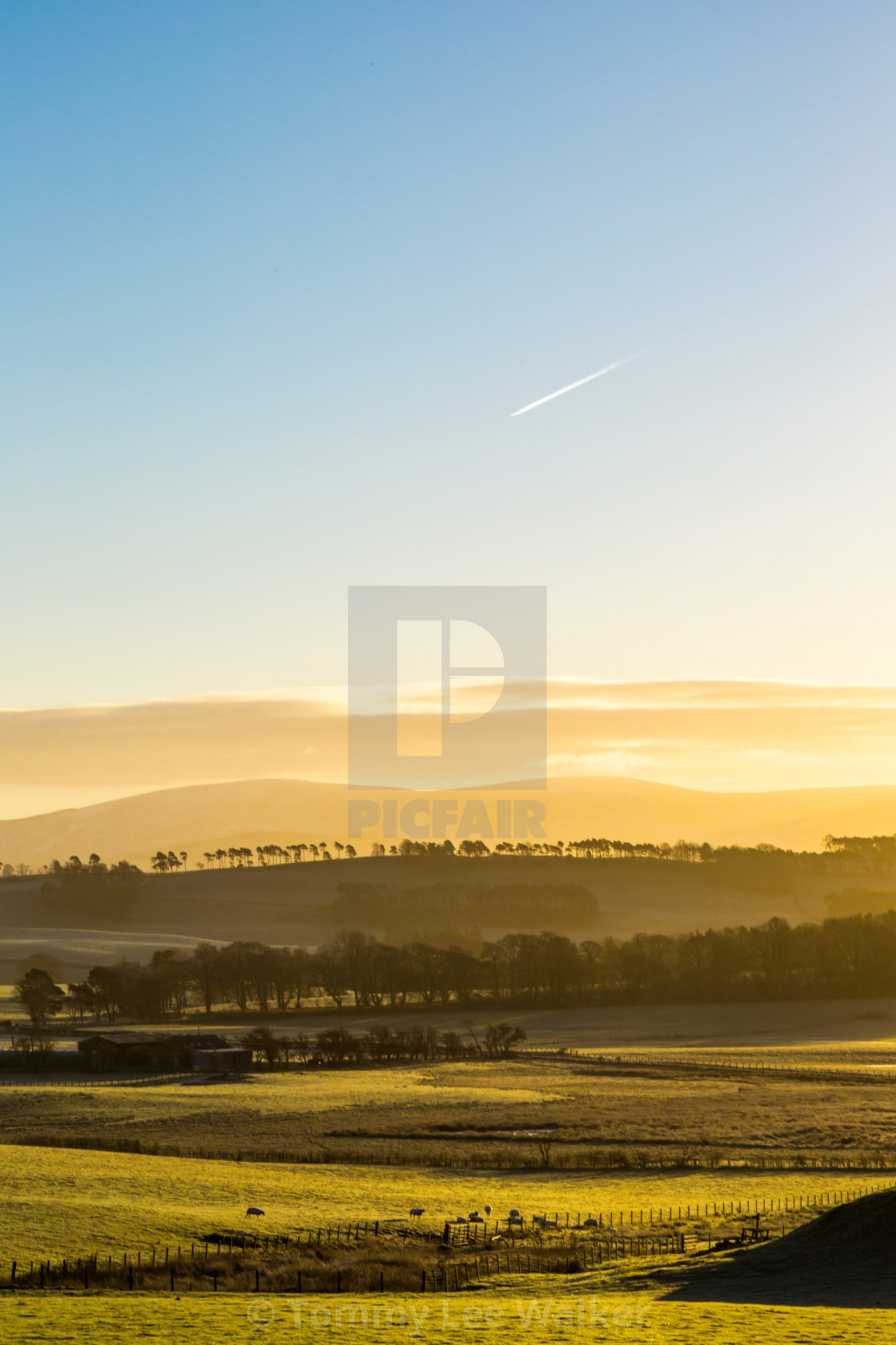 """""""Scotland highlands at cold winter clear sunrise air sky"""" stock image"""
