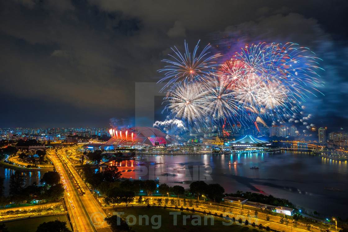 """Beautiful Singapore national day fireworks at national stadium"" stock image"