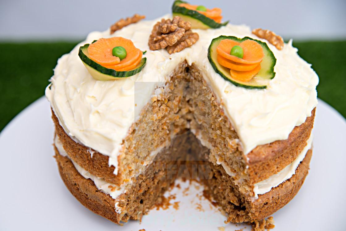 """""""Freshly baked carrot cake"""" stock image"""
