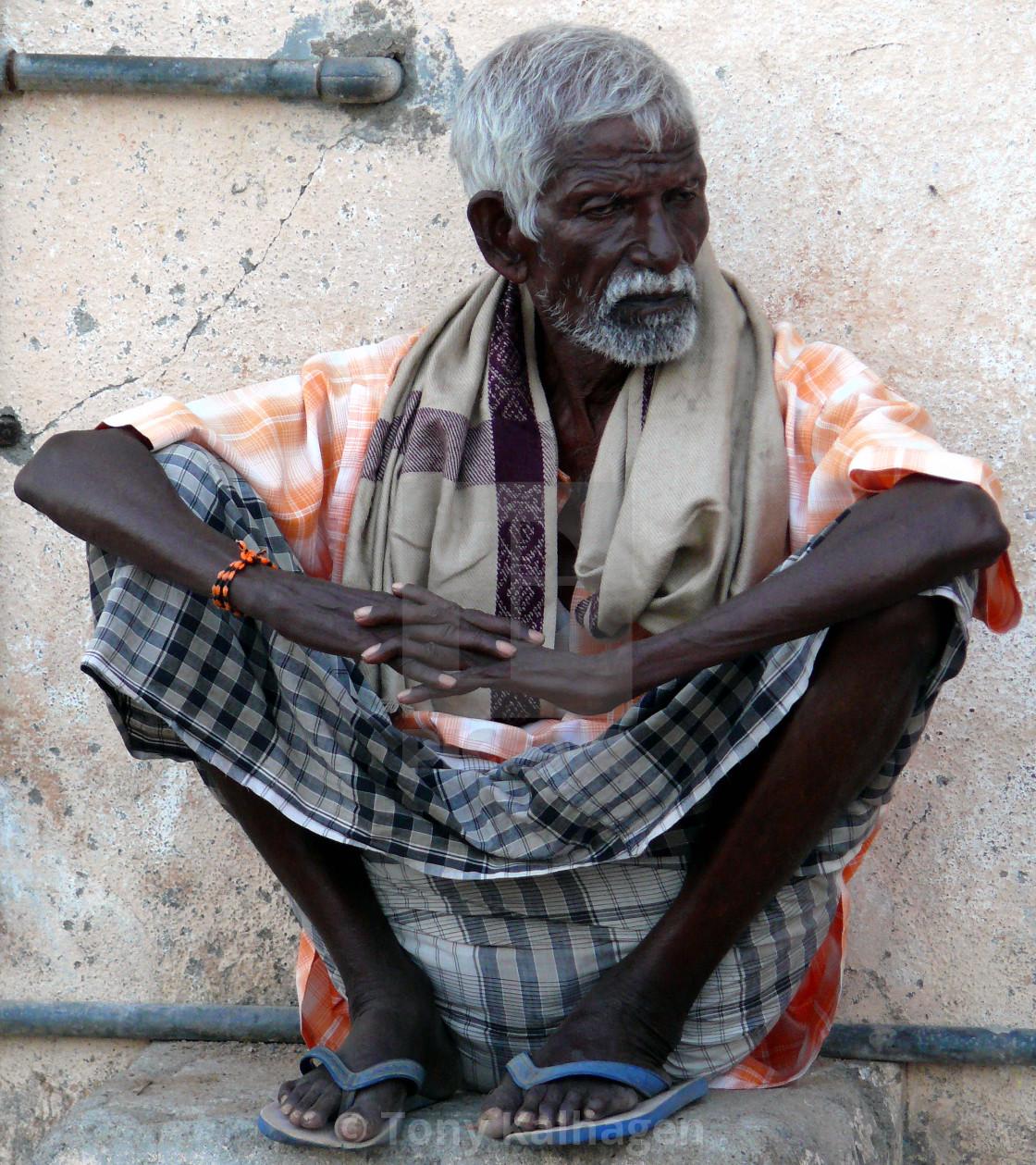 """Old Man in Puducherry"" stock image"