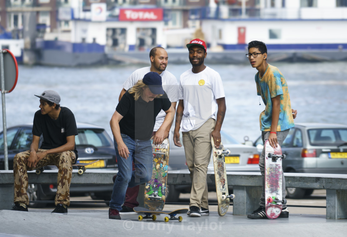 """""""Skateboarders hanging out"""" stock image"""