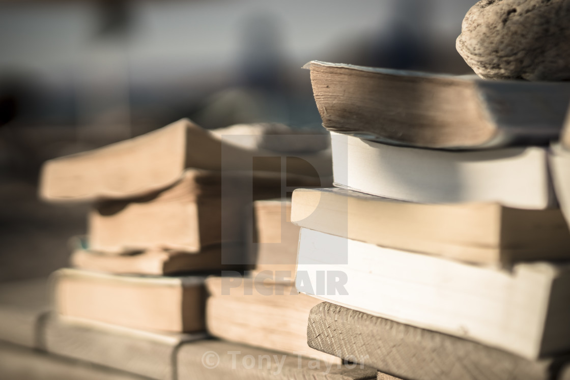 """Books on the beach 1"" stock image"