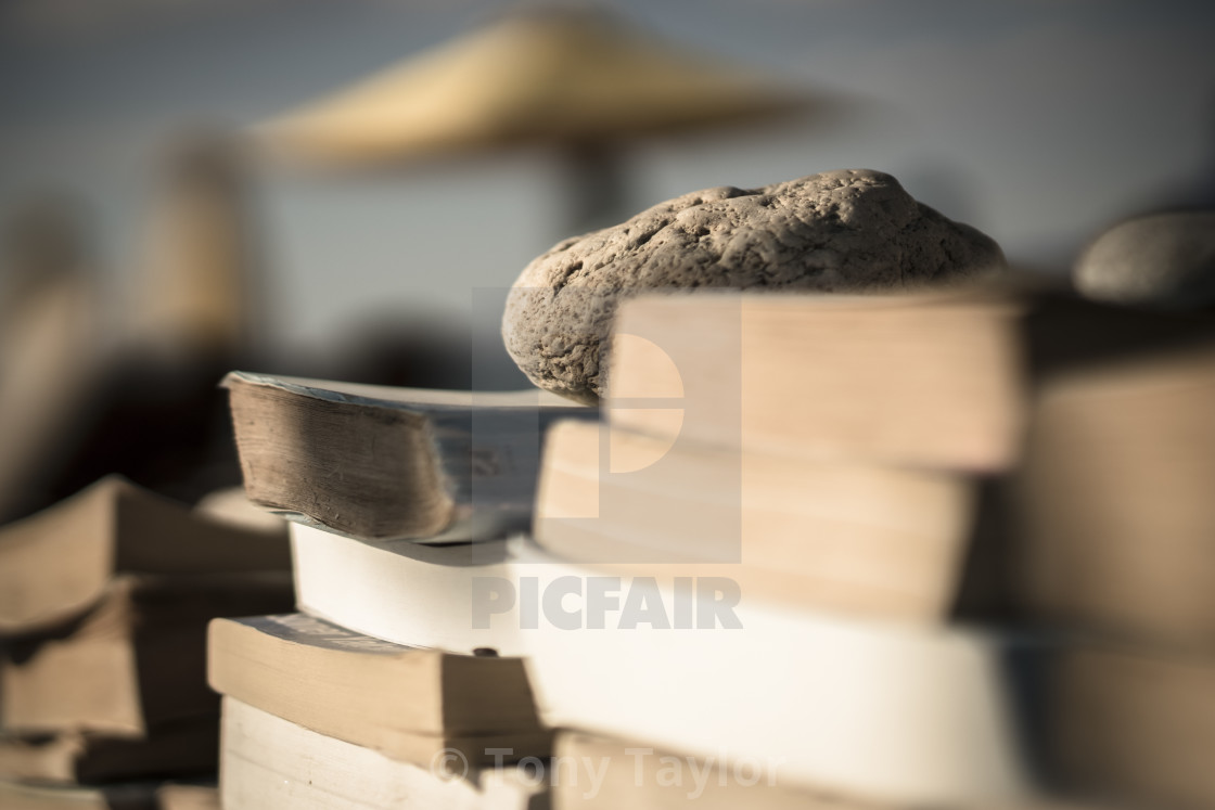 """Books on the beach 5"" stock image"