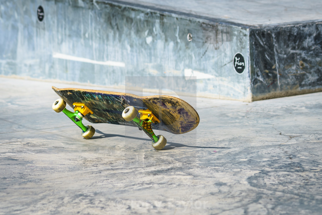 """Skateboard on two wheels"" stock image"