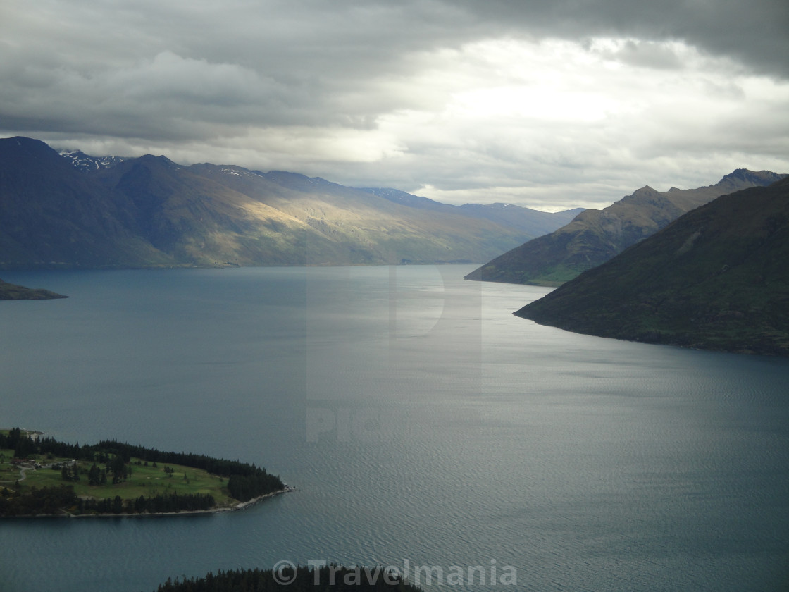 """Sunset Lake Wakatipu"" stock image"