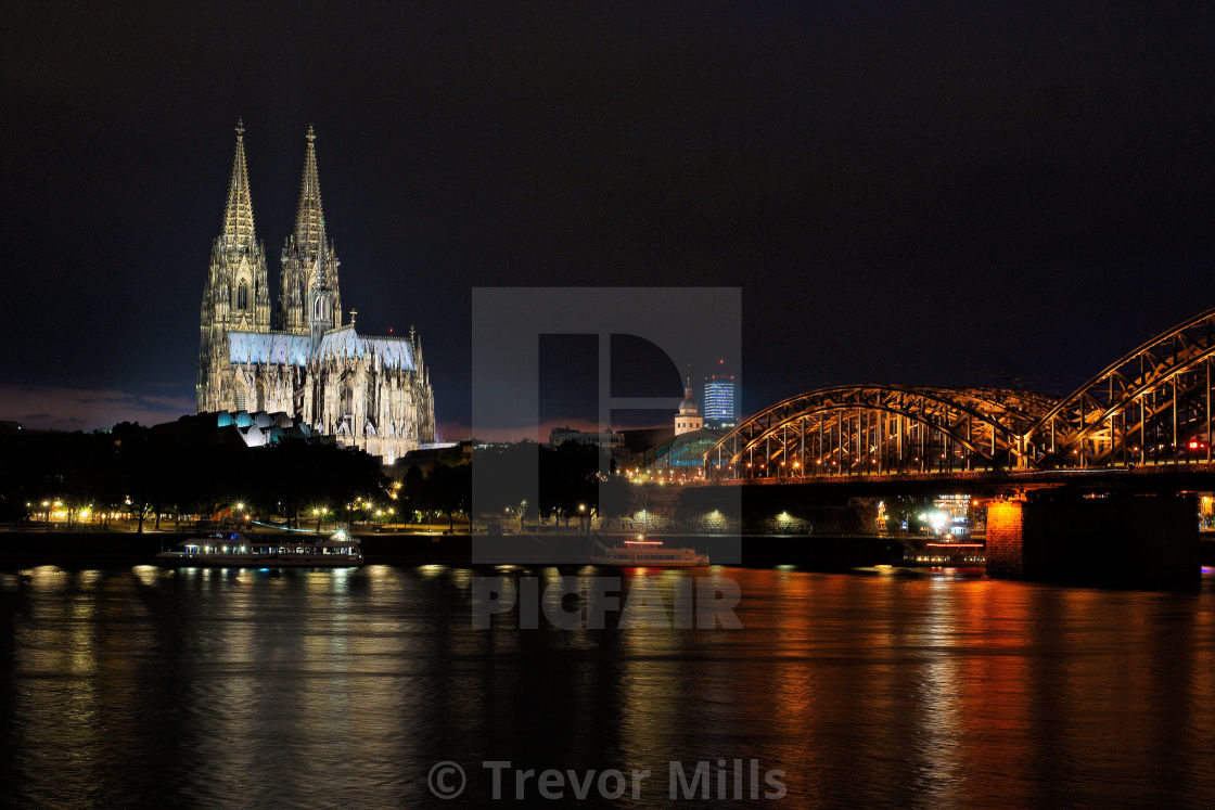 """""""Cologne cathedral at night"""" stock image"""