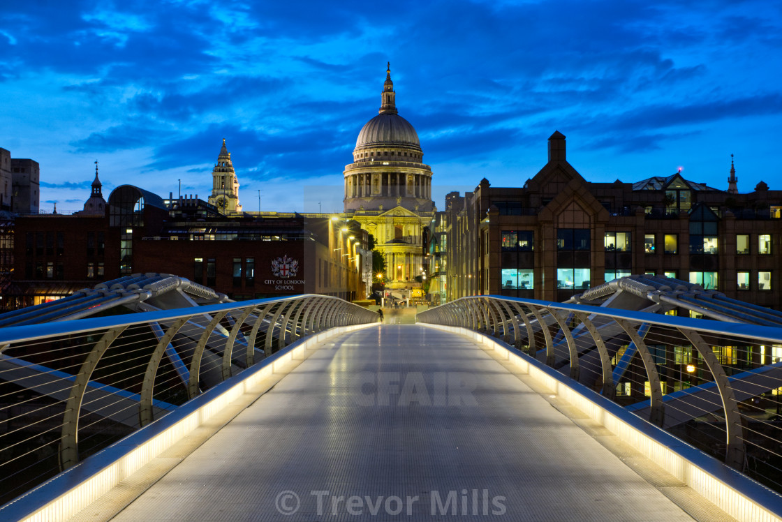 """Millennium Bridge and St Pauls"" stock image"