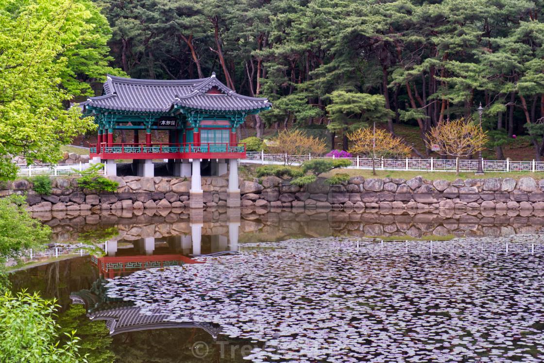 """Pavilion beside a pond"" stock image"