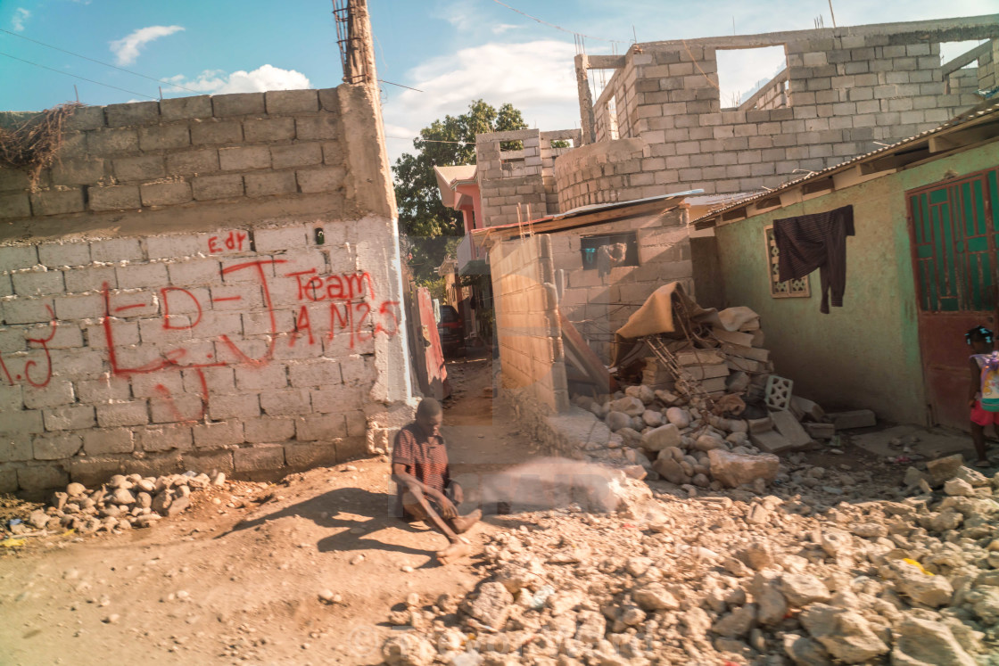 """Rarely seen beggar in Port au Prince, Haiti"" stock image"